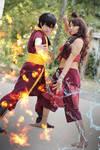 Fire and Water. Avatar, katara and Zuko cosplay.