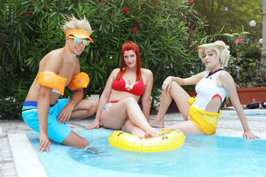 Pool party. Overwatch summer by Giuzzys