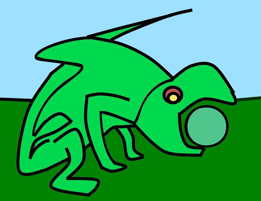 Lizard with Pea by katiejo911