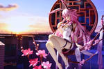 Sunset Sakura by yamitsuki-darkmoon