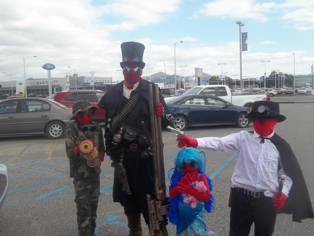 Deadpool Family Take 1 by RavenluvsSesshomaru