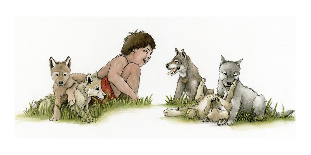 JungleBK Mowgli and Wolves by chrisfire1