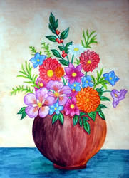 Watercolor Flower Vase I by vendoritza