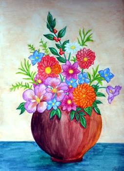 Watercolor Flower Vase I