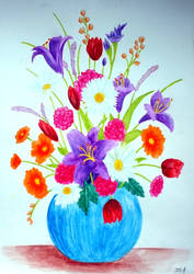 Watercolor Flower Vase II by vendoritza