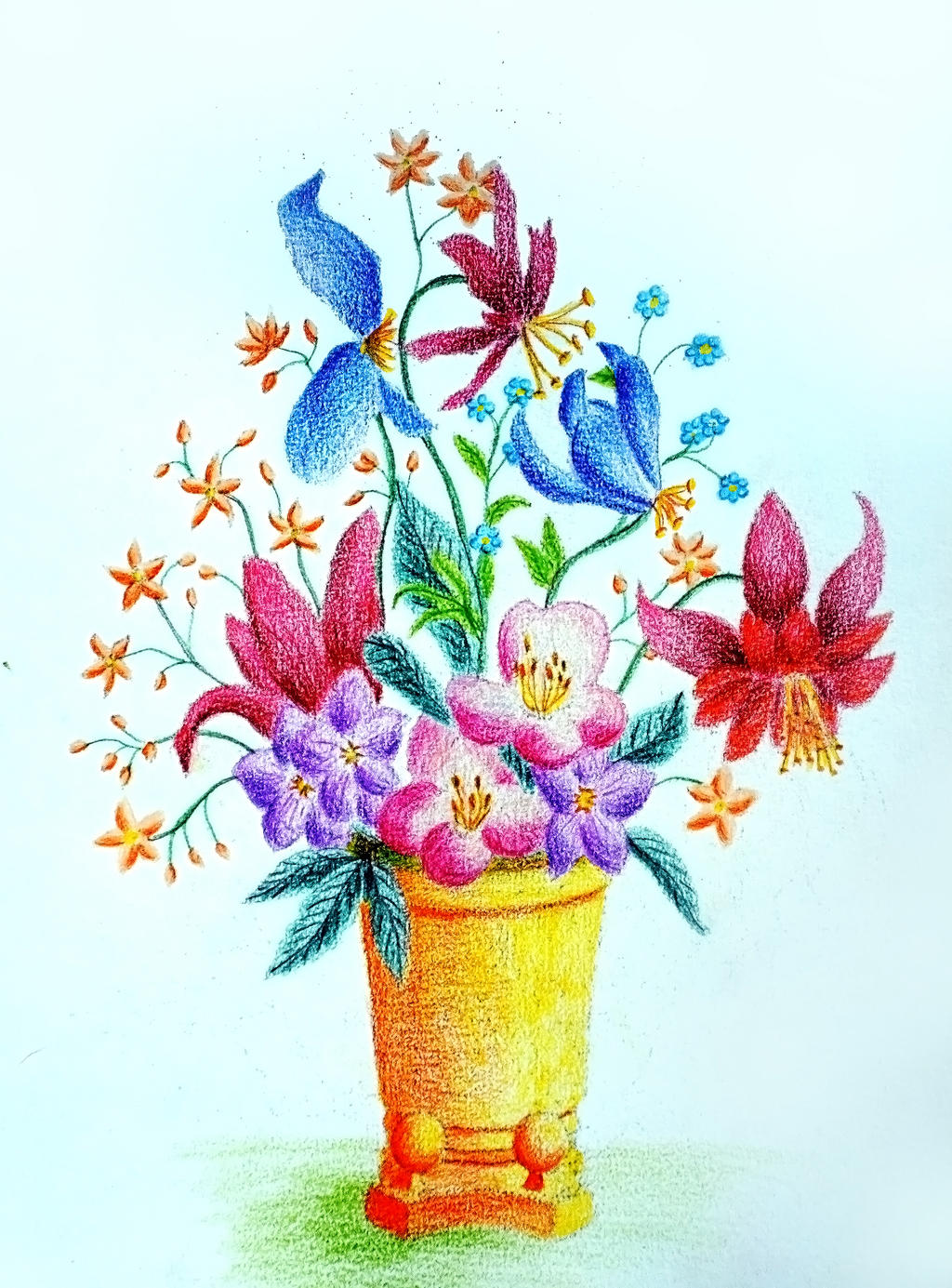 Flower vase in colored pencils I by vendoritza on DeviantArt