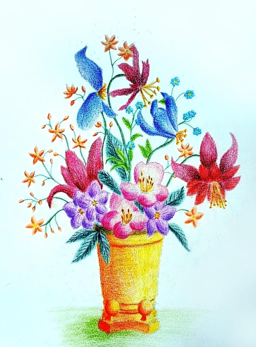 Flower vase in colored pencils I by vendoritza on DeviantArt