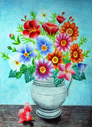 Flower vase in colored pencils II