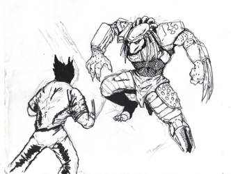 Wolverine Fighting Predator by Bigboss400