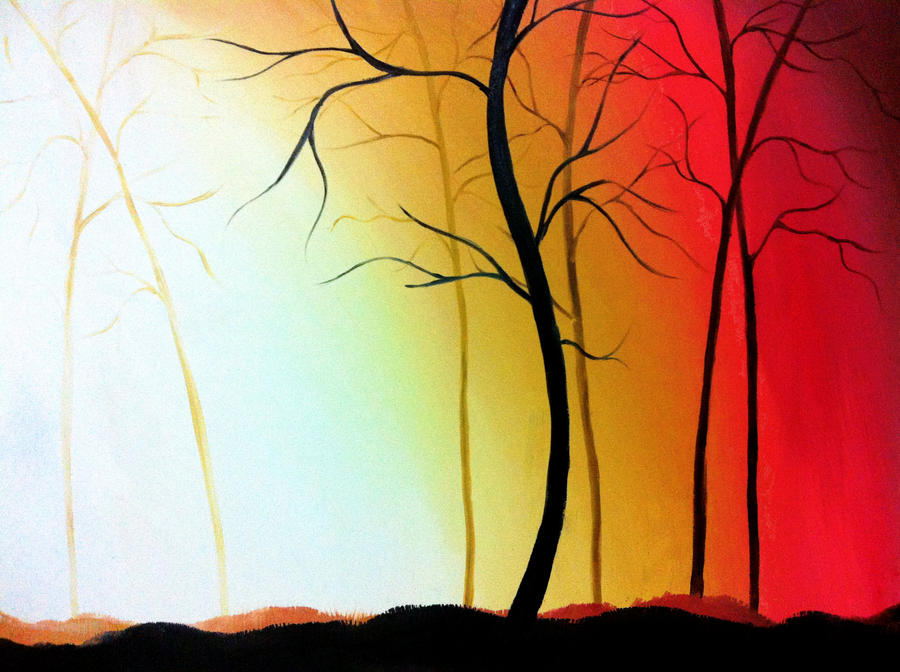 Forest in the sunset  Oil painting  Forest painting in oil