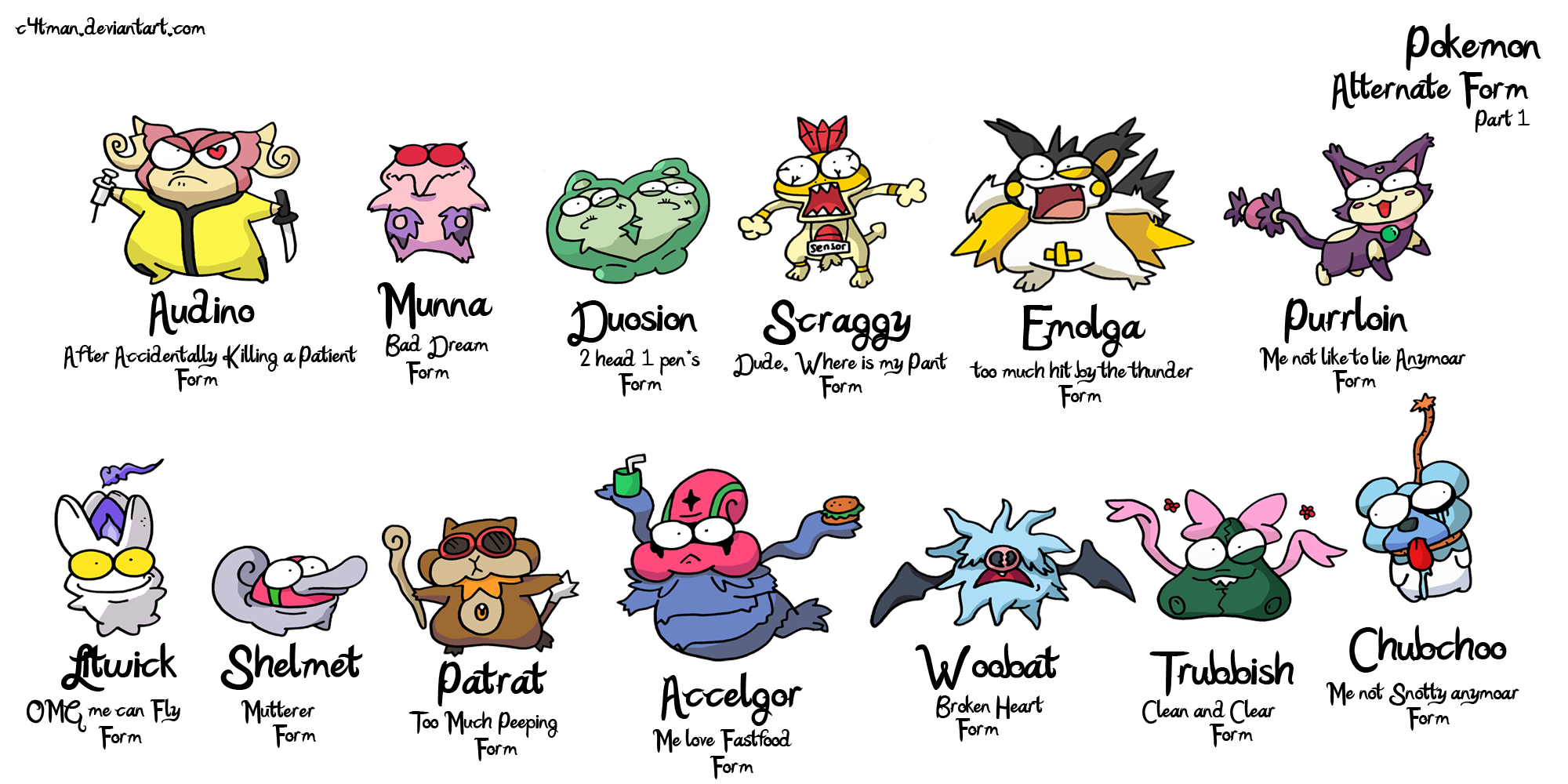 POKEMON alternate form PART 1 by c4tman on DeviantArt