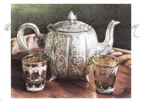Tea Time with colored pencils