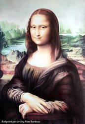 Mona Lisa with ballpoint pen by ArtisAllan
