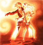 Ballpoint pen dancing flame
