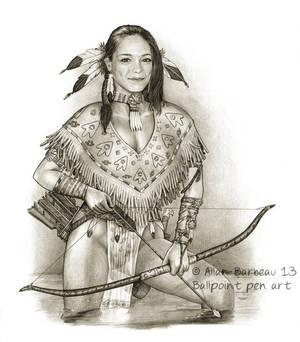 Ballpoint pen art - Kristin Kreuk native American