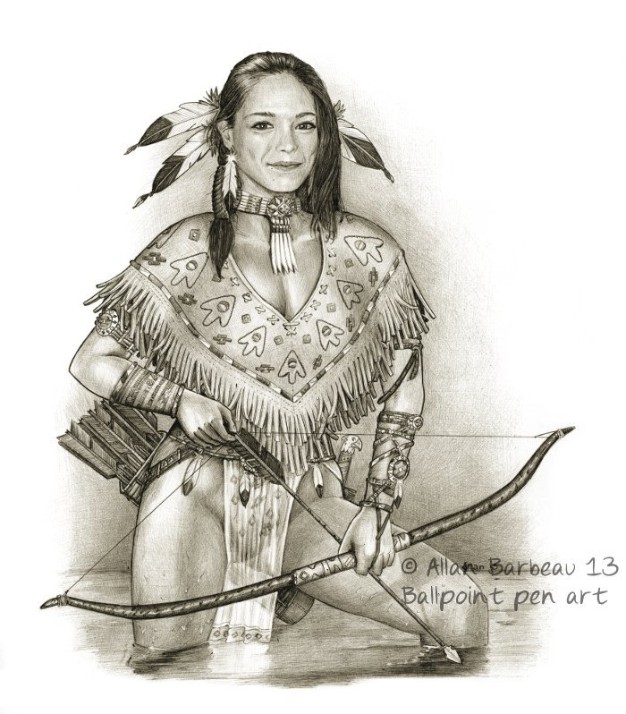 Ballpoint pen art - Kristin Kreuk native American by ...