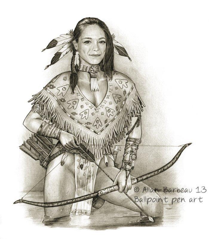 Ballpoint pen art - Kristin Kreuk native American by ...