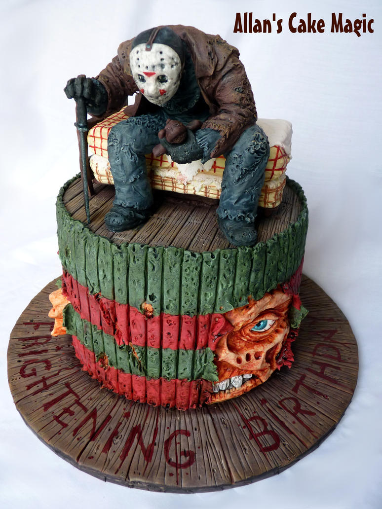 Jason VS Freddy Cake by ArtisAllan