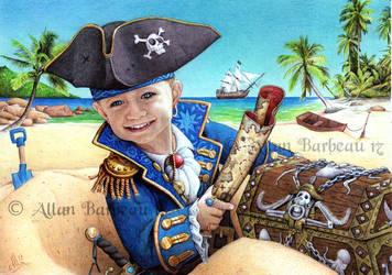 Ballpoint pen Art - Little pirate by ArtisAllan