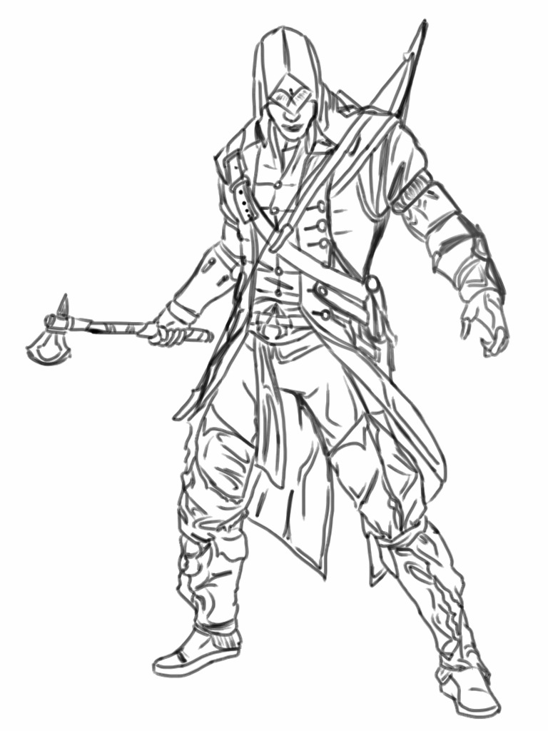 D Line Drawings Ideas : Assassins creed connor by tangypineapple on deviantart