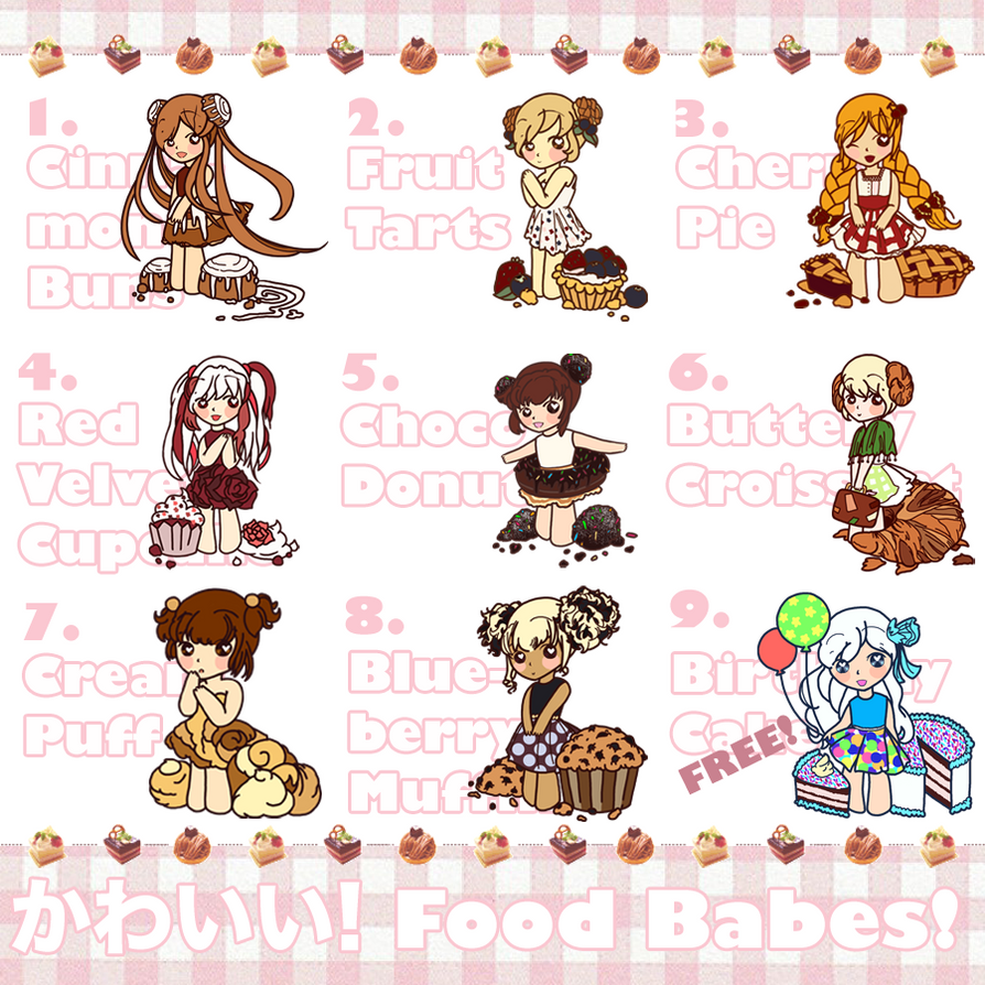 RAFFLE!!! + Food Babe Adoptables!! {OPEN} by CrazyLittleZebra