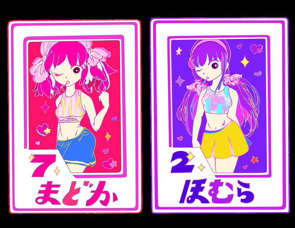 Madoka and Homura Baseball Cards by CrazyLittleZebra