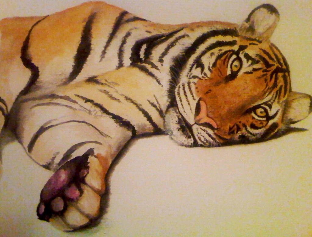Realistic Tiger Watercolour by PrincessPeach88