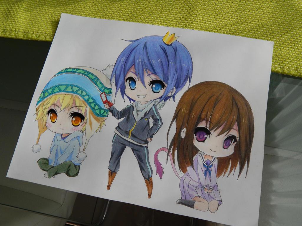 Yukine, Yato and Hiyori - Noragami by Delairine