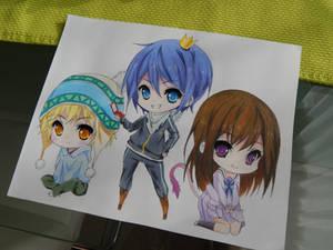 Yukine, Yato and Hiyori - Noragami