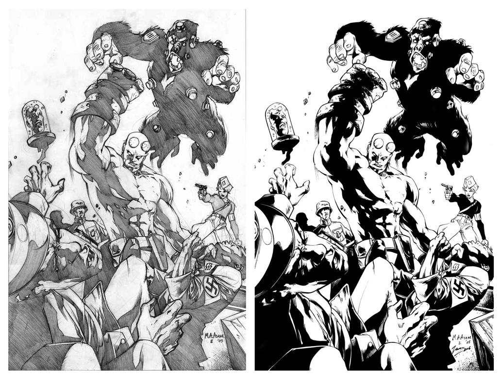 Hellboy inks over Anjum by airold