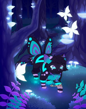 Commission - Walking through the glowing Forest