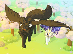 ArtTrade - Flying above the Sakura trees