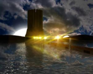 Lake and Tower - Night