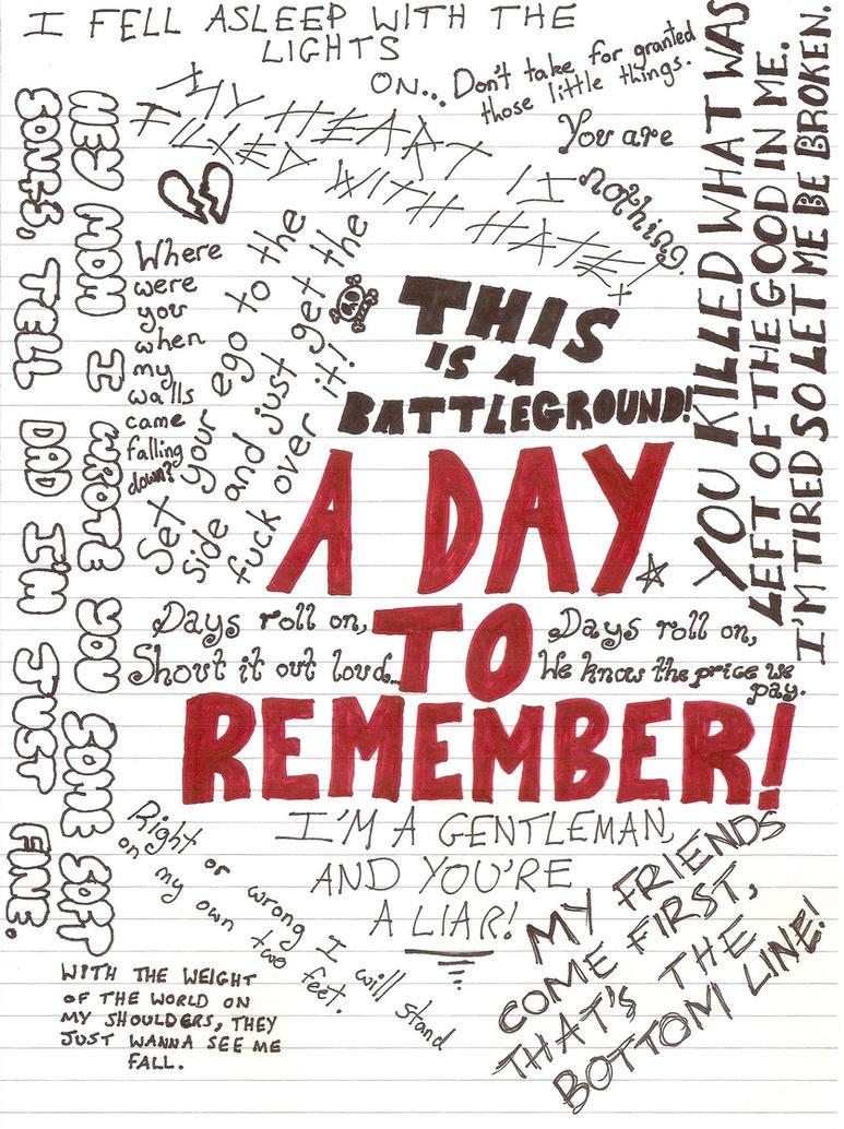 ADTR Lyrics Collage by  A Day To Remember Lyrics Wallpaper