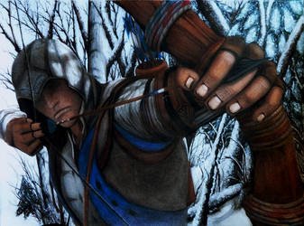 An arrow in the knee - Connor kenway drawing by LaNarquoise