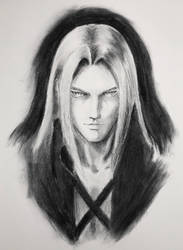 Charcoal Practice (Sephiroth FF7 Protrait) by GiraffeMeow