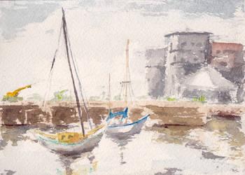 Urban Sketching Sailing Center by GiraffeMeow