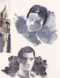 Portrait Watercolor Practice by GiraffeMeow