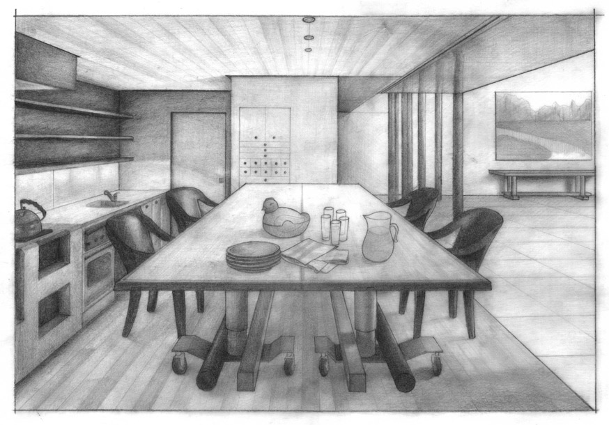 Kitchen One Point Perspective Drawing