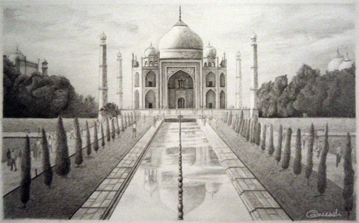 Taj Perspective Drawing by aneesah