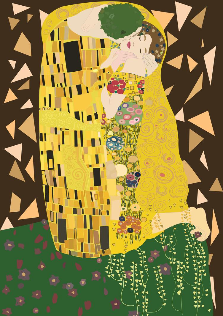 The kiss - Gustav Klimt illustration by elenhpaine