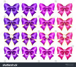 Set of realistic purple and pink bows