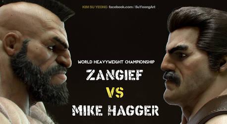 Mike Haggar VS Zangief by Kimsuyeong81