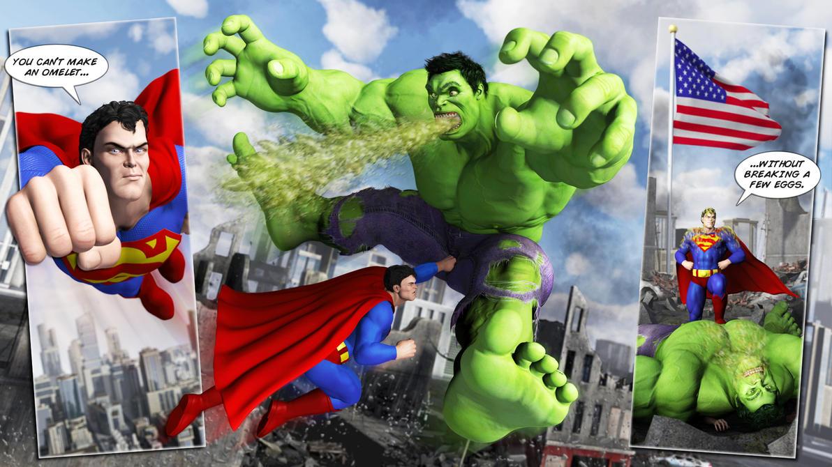 Superman vs HULK: Cheap Shot by Swawa3D