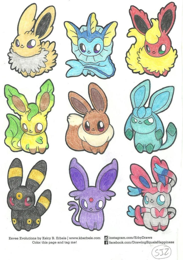 Eeveelutions Coloring Page