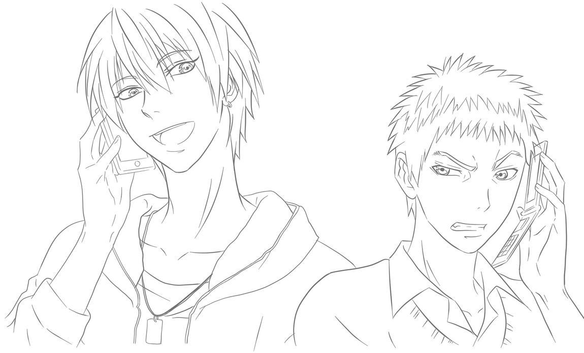 Line Art Kuroko : Kuroko no basketball kise and kasamatsu line art by