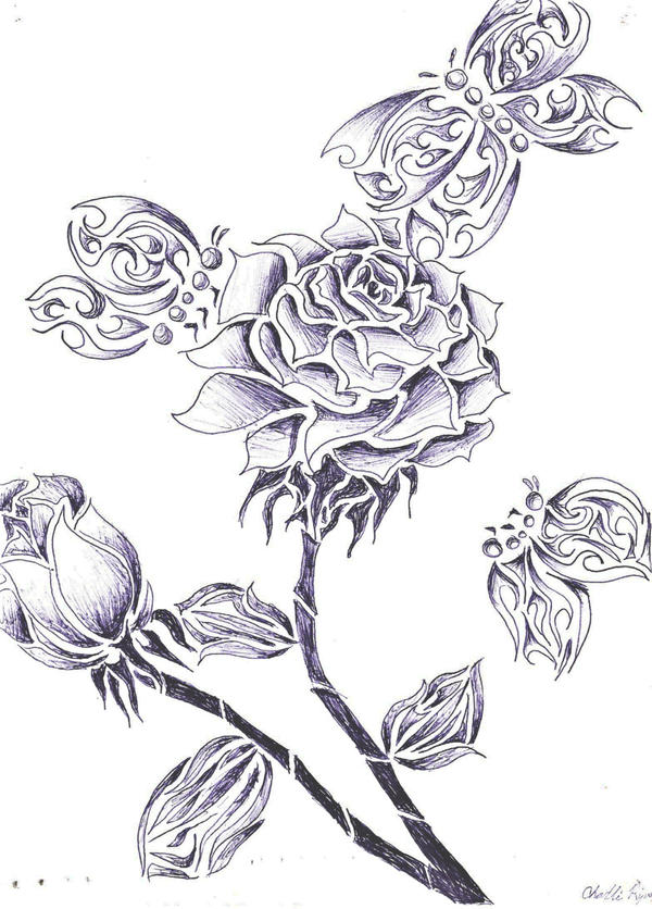 Butterfly and rose drawing - photo#16