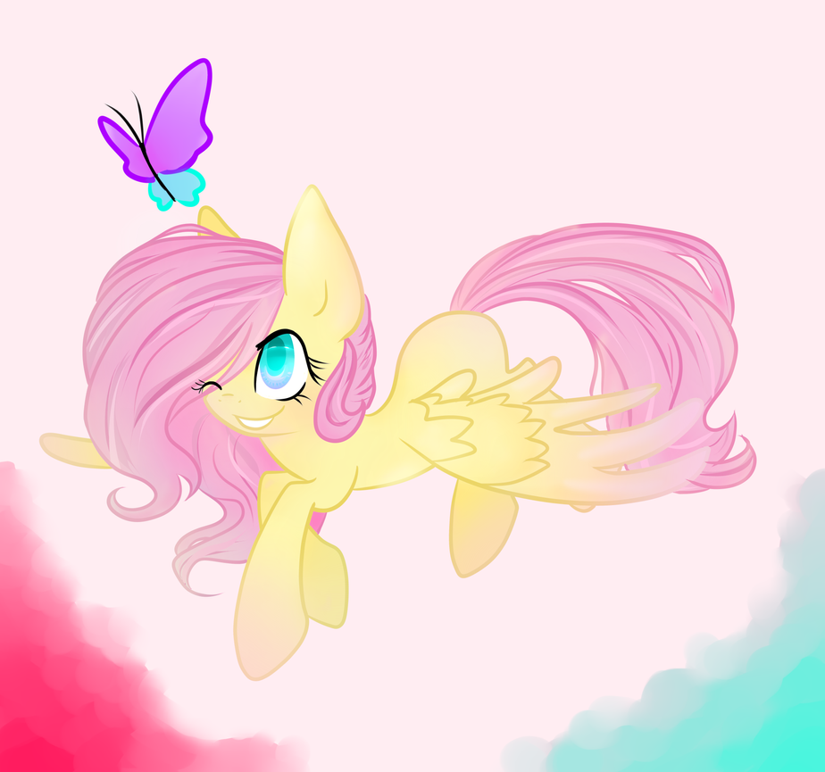 fluttershy flying with butterflies - 924×864
