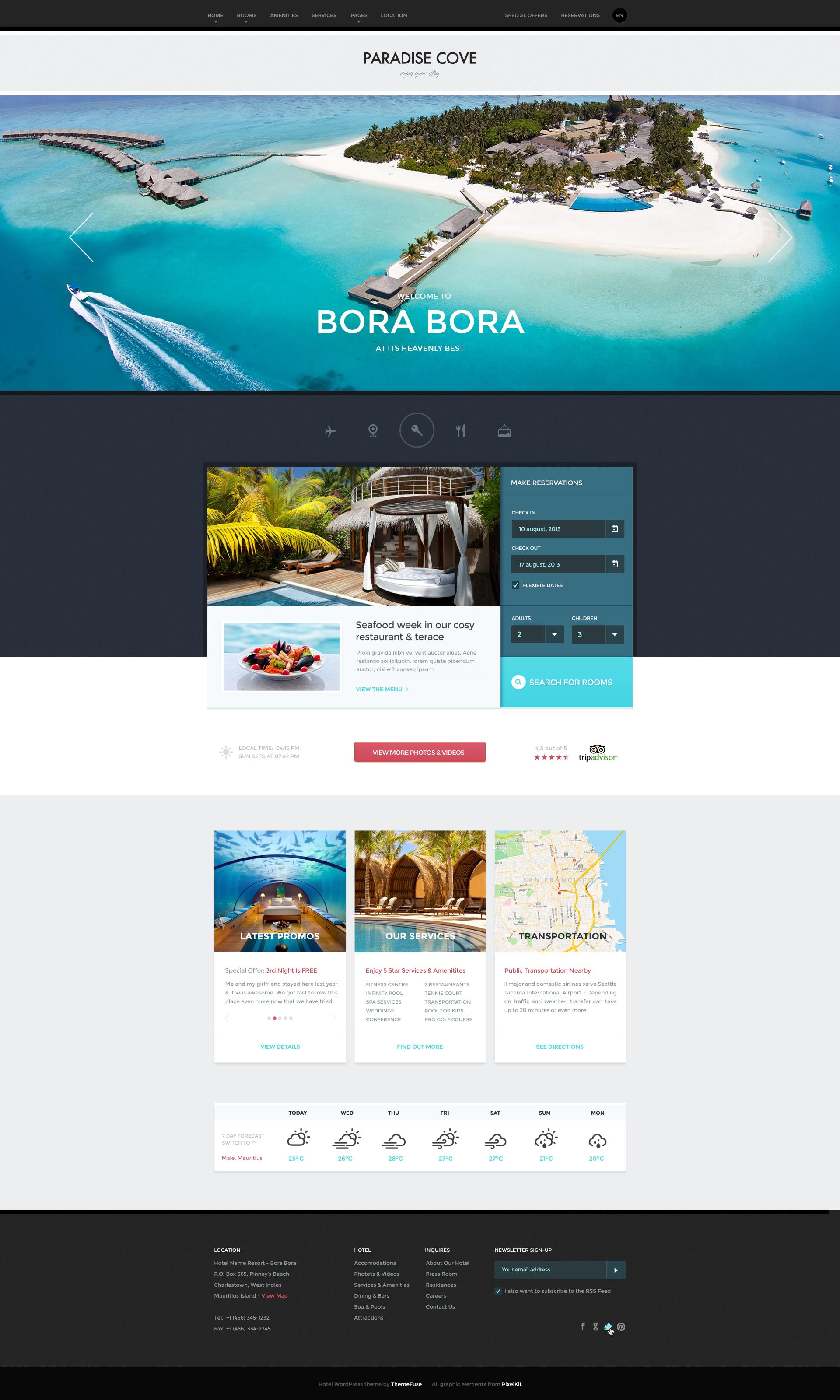 ParadiseCove WordPress Hotel theme by ThemeFuse