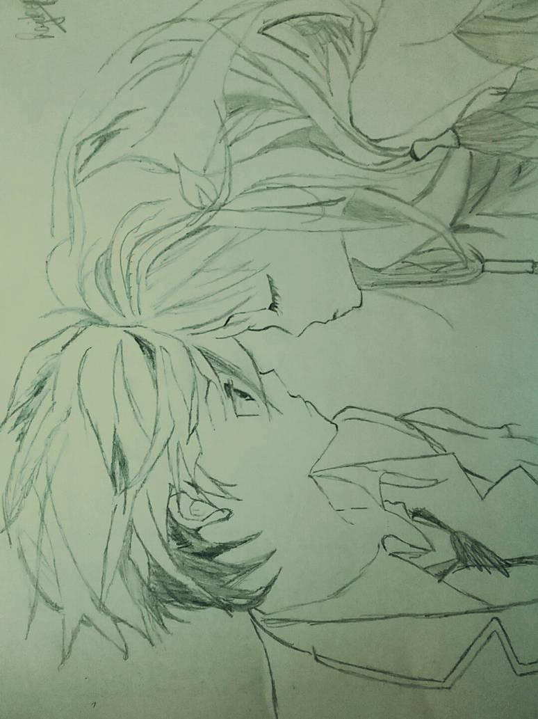 Cute couple anime sketch by rajdeep24singh99